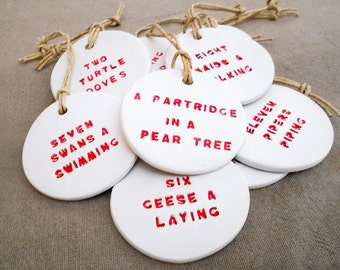 12 Days of Christmas Clay tags (12pack)