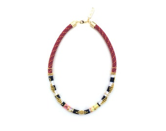 AVA - ethnic inspired rope necklace, thread wrapped necklace, statement necklace, ethnic jewelry, boho chic necklace, colorful necklace
