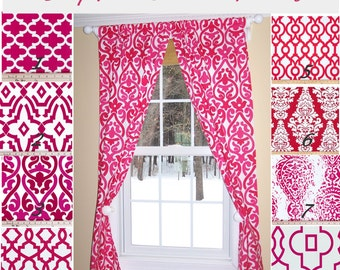 "Pink Curtains,Hot Pink,Fushia,Damask Curtains,Deep Pink Curtains, Custom Curtains,Pair Drapery Panels, Hot Pink Curtains,24"" Wide,52"" Wide"