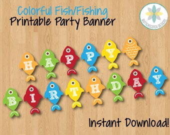 Colorful Fish/Fishing Happy Birthday Banner - Instant Download