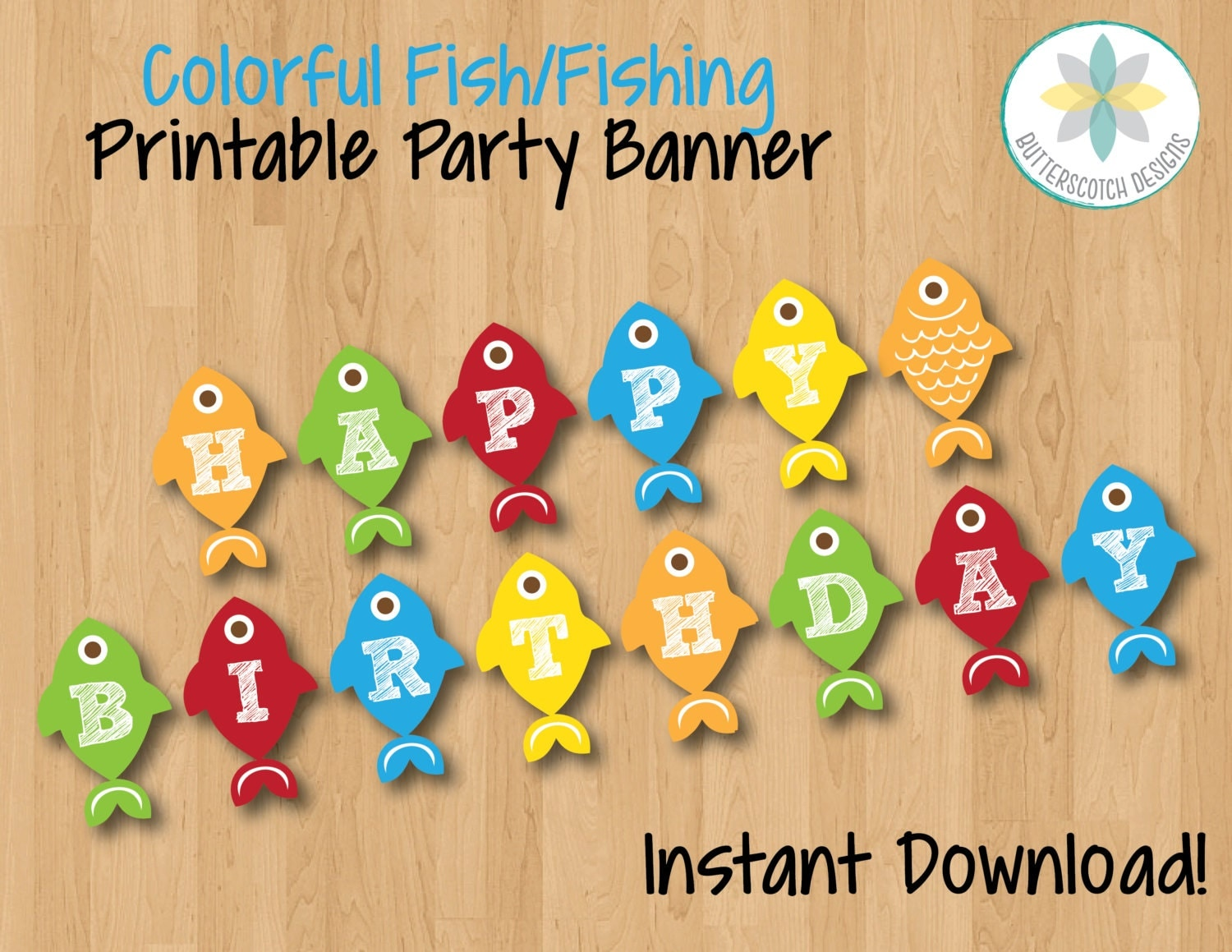colorful fish fishing happy birthday banner instant download