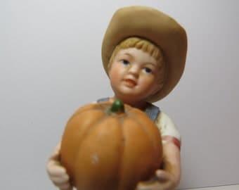 Denim Days by Homco Home Interiors  figurine fall pumpkin decoration