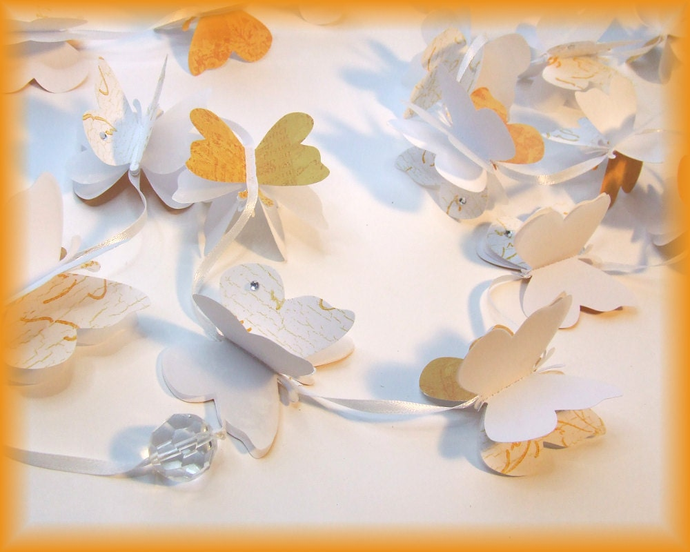 Paper butterfly garland matte gold white paper butterflies for White paper butterflies
