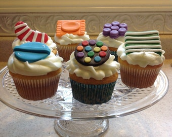 Candy Crush Inspired  Toppers for Cookies, Cakes & Cupcakes - Made with Delicious White-Chocolate Fondant