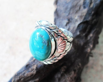Royal handmade Silver Ring with blue Turquoise - Statement Silver Turquoise Ring - Original Blue Turquoise Ring