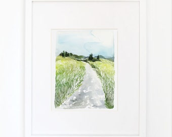 Landscape of Grass No. 1- Watercolor Art Print