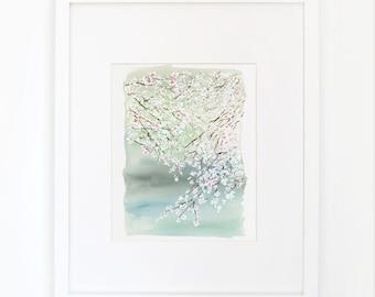 Cherry Blossoms on a Lake- Watercolor Art Print