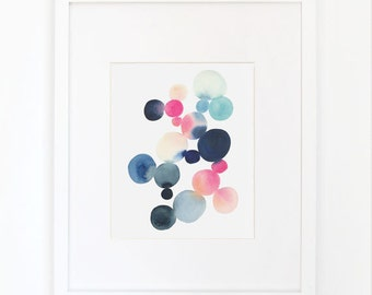 Cluster in Blue and Magenta- Watercolor Art Print