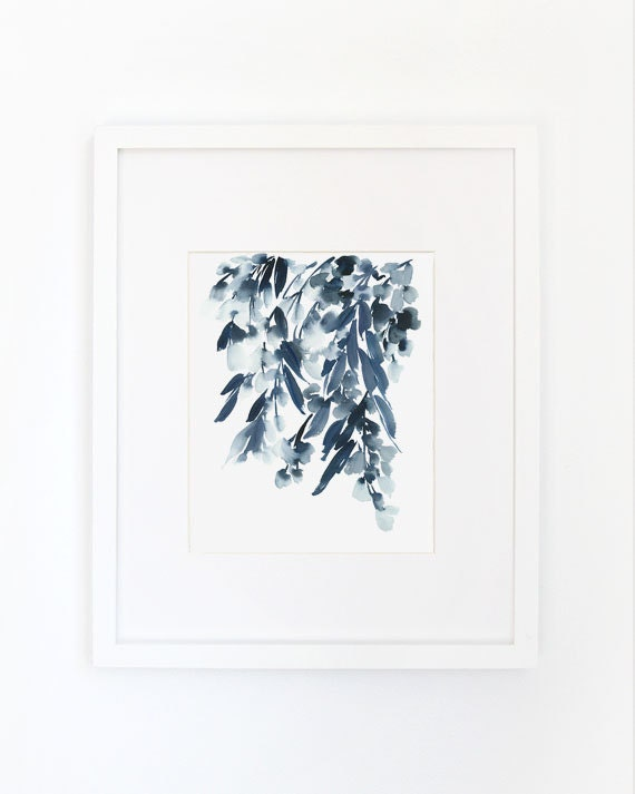 Wisteria in Indigo- Watercolor Art Print