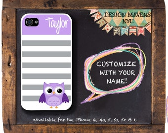Cute Owl iPhone Case, Monogrammed iPhone Case, Fits iPhone 4,  iPhone 5, iPhone 5s, iPhone 5c, iPhone 6