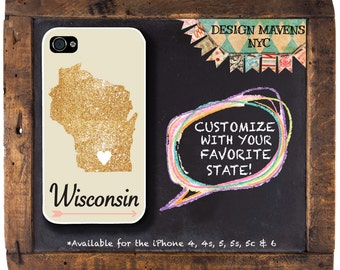Wisconsin iPhone Case, Personalized State Love iPhone Case, Fits iPhone 4, iPhone 5, iPhone 5s, iPhone 5c, iPhone 6, NOT REAL GLITTER
