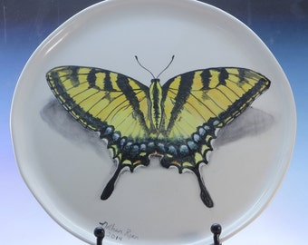 Hand Painted Swallowtail Butterfly Plate