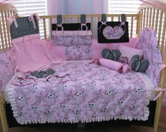 Pink Cute Skull 15 Piece Baby Bedding Crib Set