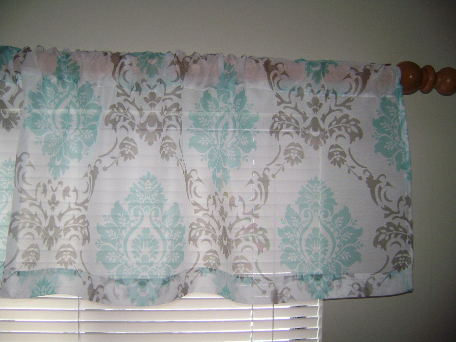 Sheer Damask Valance Aqua Blue Grey Sheer Valance Sheer