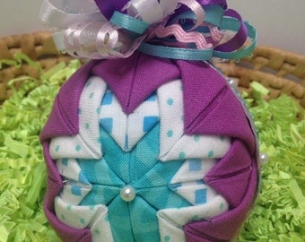 Folded fabric quilted christmas ornament with woven ribbon quilted folded fabric holiday ornament purple turquoise white full bow easter negle Gallery