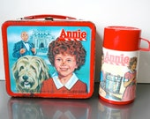 Vintage Steel Lunch Box & Thermos / Circa 1981 / Annie Movie / Six-Sided Graphics / Original Thermos / Little Orphan Annie