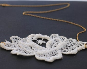 Lace Necklace -Ivory and Gold Bridal Necklace