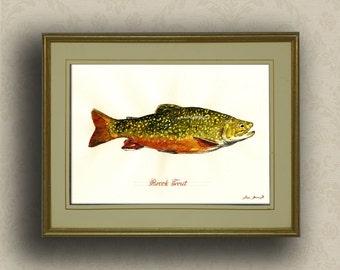 PRINT-Brook trout fish fly fishing river print watercolor painting art wall brook trout portrait  - Art Print by Juan Bosco