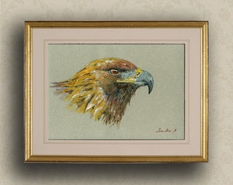 PRINT-Golden eagle bird of prey  raptor bird watercolor print head study american  - Art Print by Juan Bosco