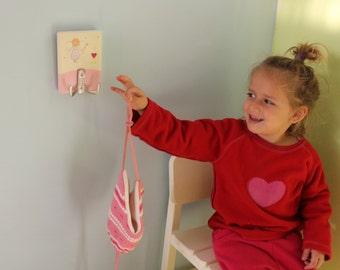 Childrens Peg rack Girls coat hanger, Towel rack - Fairy nursery decor