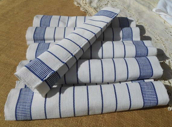 6 Blue Stripes Woven Cotton Placemats Unused White With Blue