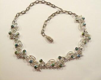 Glittering Vintage Emerald Green AB Rhinestone Necklace