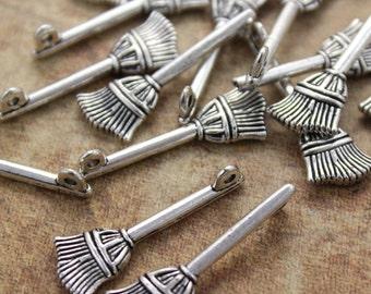 10 Broom Charms Broom Pendants Antiqued Silver Tone 3D 10 x 27 mm