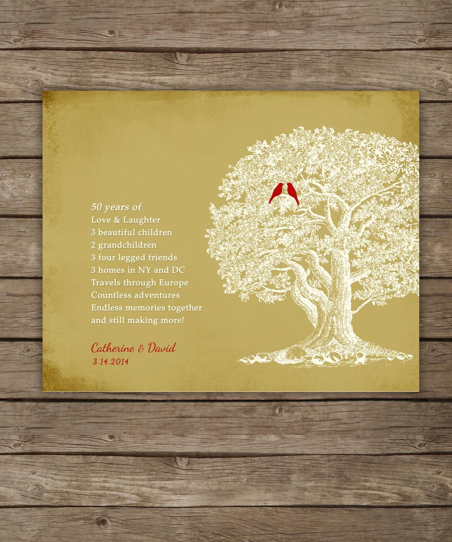 50 Wedding Anniversary Gifts: 50th Wedding Anniversary Tree Gift Anniversary Gift For