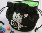 Zombie Kitty Drawstring Embroidered Dice Bag or Pouch