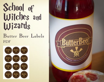 Harry Potter inspired School of witches and wizards Butter Beer Labels - PDF - INSTANT DOWNLOAD