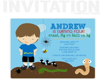 Bug Birthday Party Invitations, personalized thank you cards, birthday invitations, party invitations / No.346