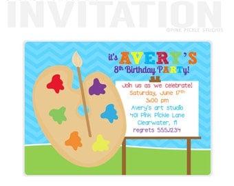 Art Party Invitation, Art Birthday Party Invitations, Art Party Birthday Party, birthday invitations, party invitations / No.401