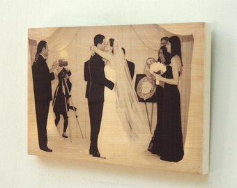 Custom Photo on Wood - Customized Wooden Picture - Personalized Wedding Photo Printed on Real Wood
