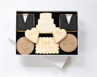 Mr and Mr gift, gay wedding gift, wedding gift, civil partnership gift, civil marriage gift, gay marriage gift, monogram cookies,
