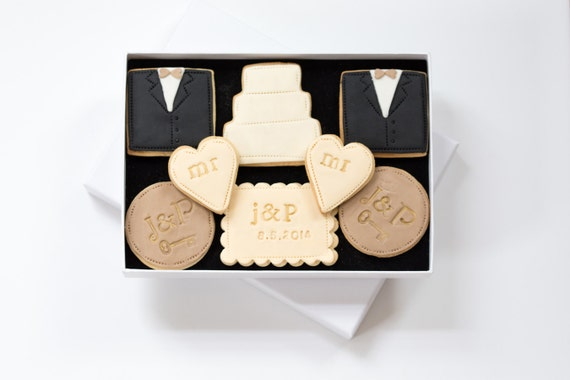 Wedding Cookie Gift Set - Personalised gay wedding gift, wedding gift ...