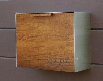 Modern Mailbox Large, Teak and Stainless Steel, Wall Mounted mailbox