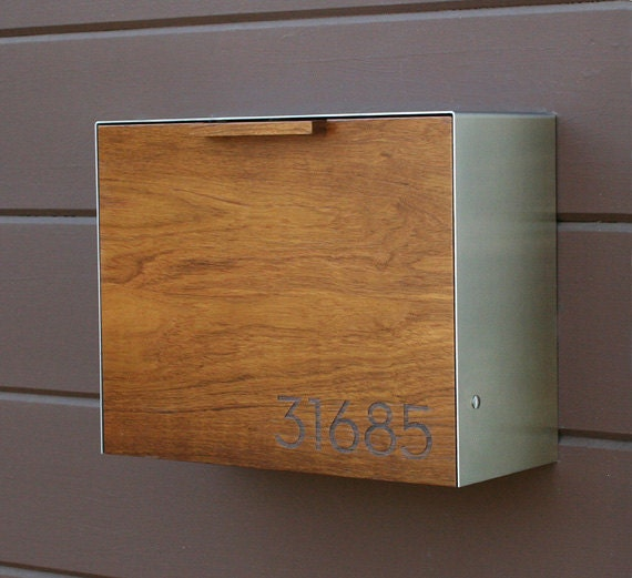 Modern Mailbox Large Teak And Stainless Steel Wall Mounted