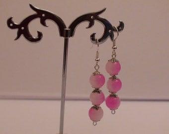 Dangle earrings.Pink earrings.Agate beads.Womens earrings.Womens jewelry.