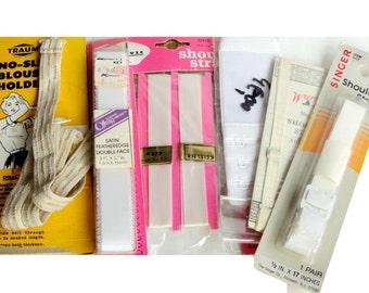 Vintage Elastic Shoulder Staps, Bra, White, Off White, Non-Slip, Sewing Notions, Supplies, NIP