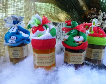 Christmas/Holiday - Stocking Stuffer/Brunch Favor Jam Jar Gift - 4oz or 8oz  jar filled with homemade jam and a holiday stocking cap