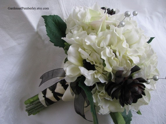 Cream And Black Anemone Hydrangea And Succulent Silk Bridal