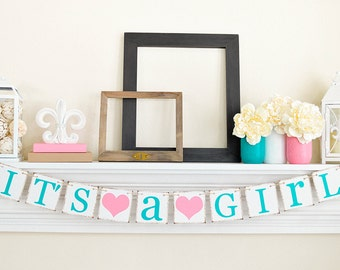 IT'S A GIRL Banner- Baby Shower Decorations - Baby Announcements