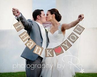 Merci de vous signe, Merci bannière, mariage bannière Photo Prop, signe de mariage, décorations de mariage, bannière mariage rustique, décoration de mariage corail