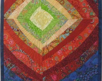 Art Quilt Bright Diamond, Quilted Wall Hanging, Abstract quilt
