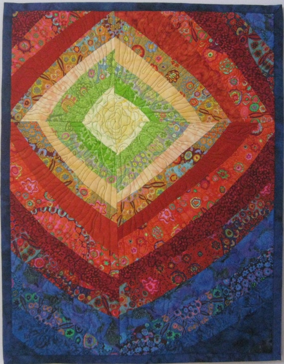 Art Quilt Bright Diamond, Quilted Wall Hanging