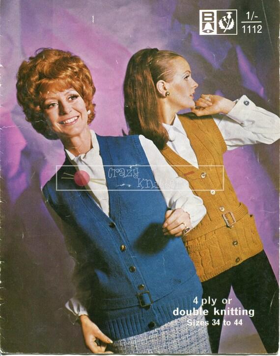 Lady's Waistcoats 4ply DK 34-44in Bellmans 1112 Vintage Knitting Pattern PDF instant download