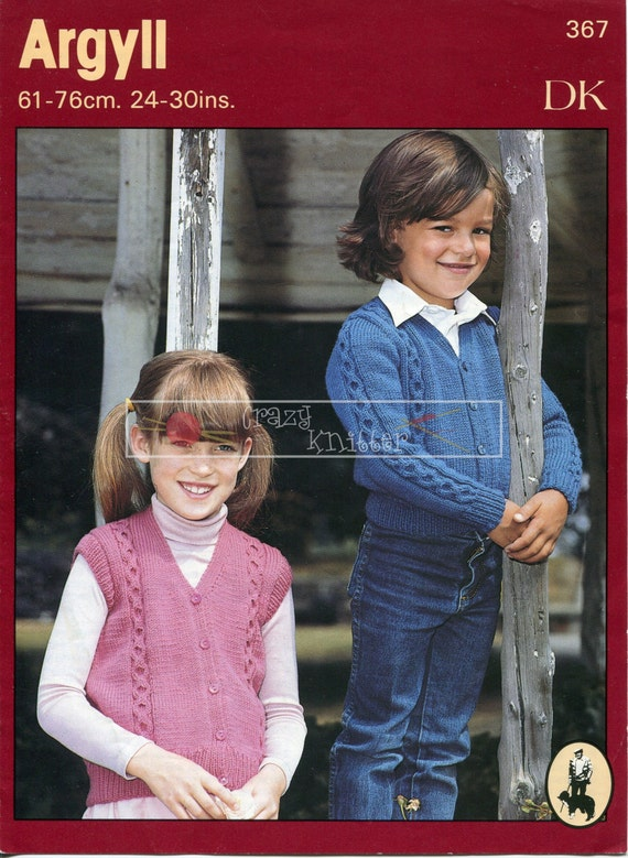 Child's Cable Cardigan and Waistcoat DK 24-30ins Argyll 367 Vintage Knitting Pattern PDF instant download