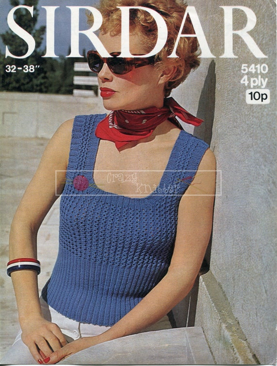 Lady's Summer Mini Top 4-ply 32-38in Sirdar 5410 Vintage Knitting Pattern PDF instant download