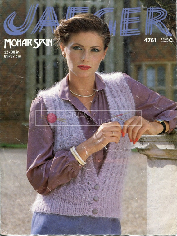 Lady's Lace Waistcoat Mohair 32-38in Jaeger 4761 Vintage Knitting Pattern PDF instant download