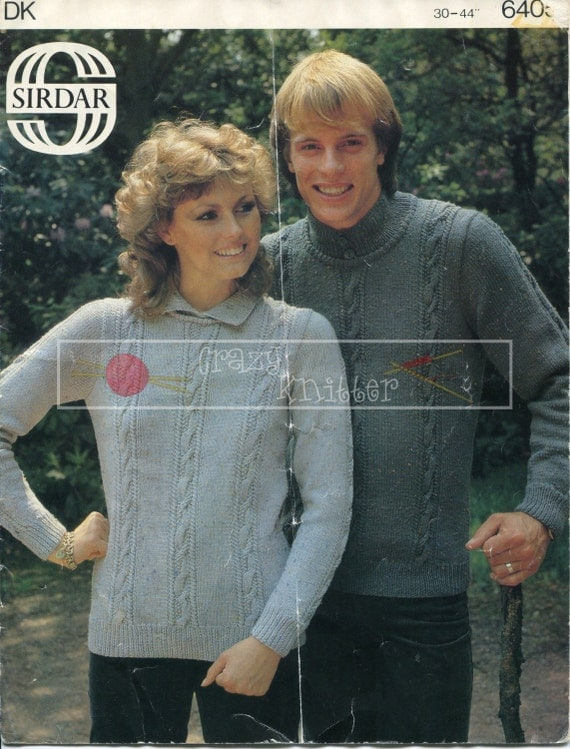 Unisex Cable Sweater DK 30-44in Sirdar 6405 Vintage Knitting Pattern PDF instant download